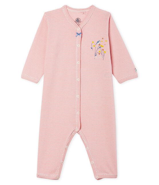 Baby-Strampler ohne Fuß aus Rippstrick für Mädchen rosa Charme / weiss Marshmallow