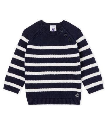 Gestreifter Woll-Baumwoll-Pullover für Jungen-Babys blau Smoking / weiss Marshmallow