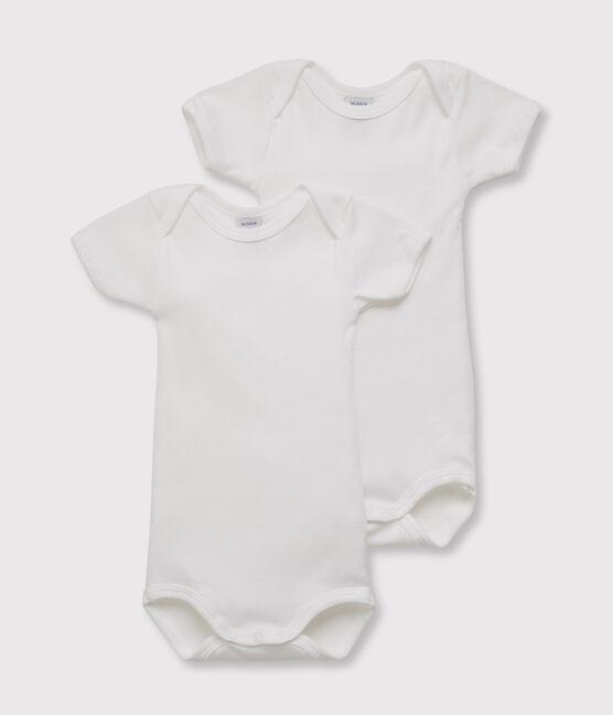 Set aus zwei weißen Babybodys mit kurzen Ärmeln für Jungen lot .
