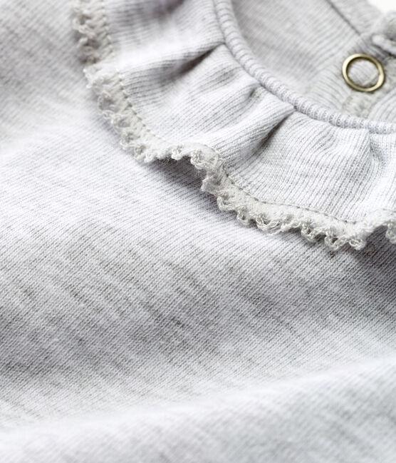 Baby-kurzarm-body mit breitem rüschenrg mädchen grau Poussiere Chine