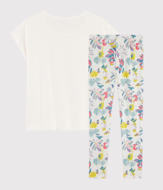 Rippstrick-Pyjama mit Dschungel-Print für Mädchen. weiss Marshmallow / weiss Multico