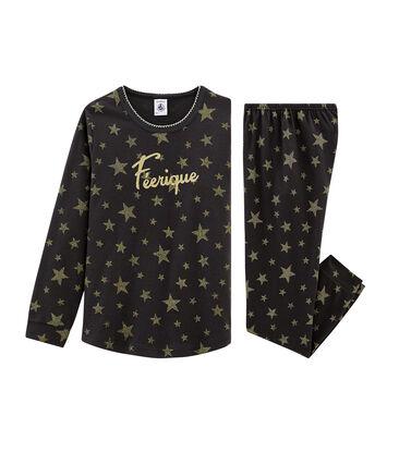 Rippstrick-Pyjama für Mädchen grau Capecod / gelb Or