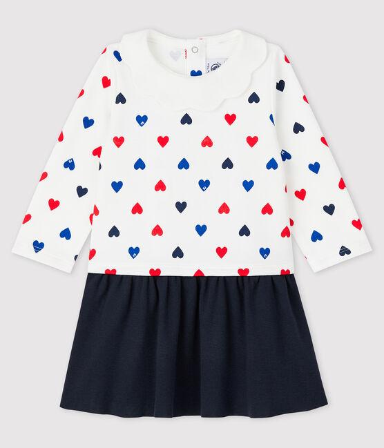 Langärmeliges Baby-Kleid für Mädchen weiss Marshmallow / weiss Multico