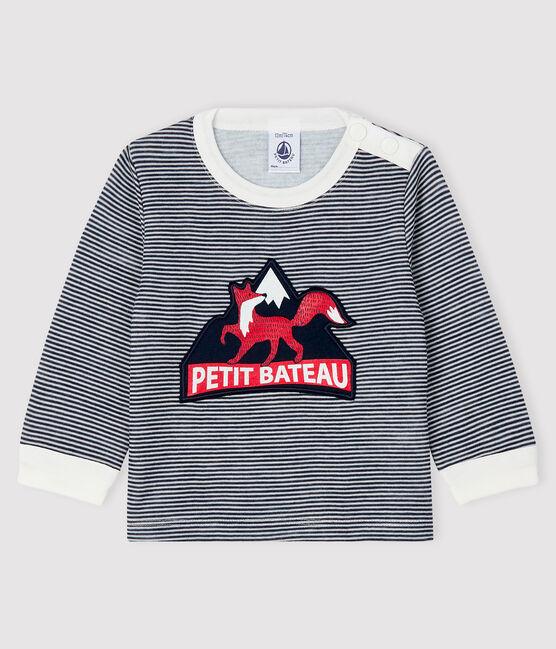 Baby-T-Shirt für Jungen blau Smoking / weiss Marshmallow