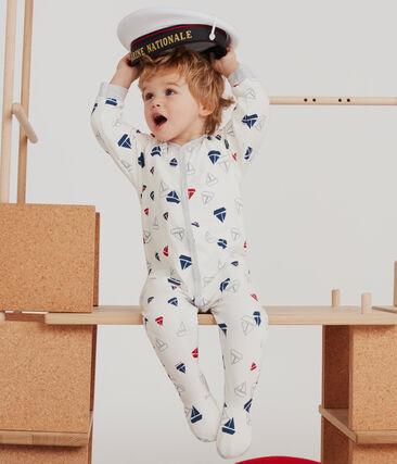 Baby-Strampler aus gedoppeltem Jersey für Jungen weiss Marshmallow / weiss Multico