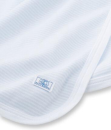 Unisex-Baby-Decke mit Milleraies-Ringelmuster blau Fraicheur / weiss Ecume