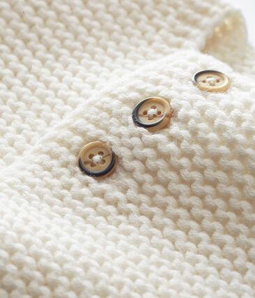 Unisex Baby Cardigan in Krausstrick weiss Marshmallow