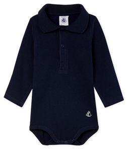Langärmliger Baby-Body mit Polokragen für Jungen blau Smoking