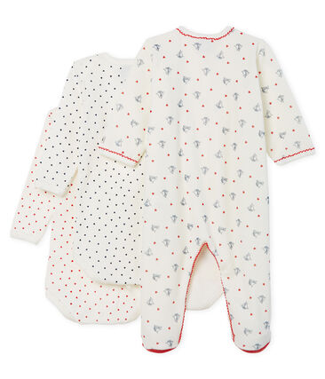 Mädchen-Baby-Set mit Nicki-Strampler und langärmligen Bodys aus Rippstrick lot .
