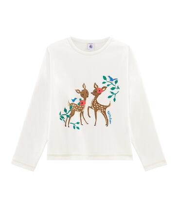 T-Shirt mit Siebdruck für Mädchen weiss Marshmallow