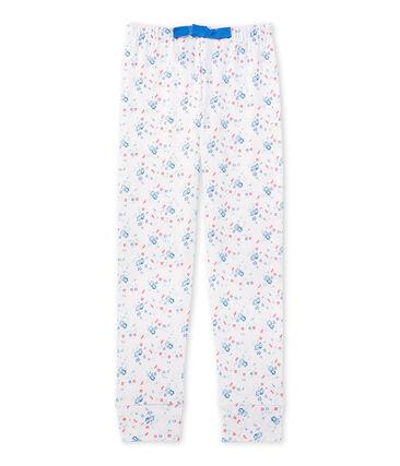 Bedruckte Teenie-Mädchen-Schlafanzughose zum Kombinieren weiss Ecume / blau Bleu