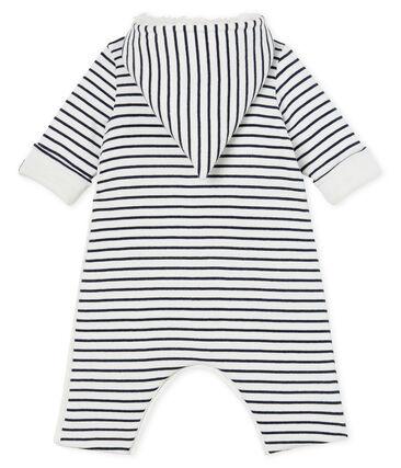 Langer Baby-Overall aus wattiertem Rippstrick weiss Marshmallow / blau Smoking
