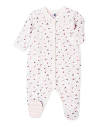 Bedruckter Baby-Mädchen-Strampler aus gedoppeltem Jersey blau Bocal / weiss Multico