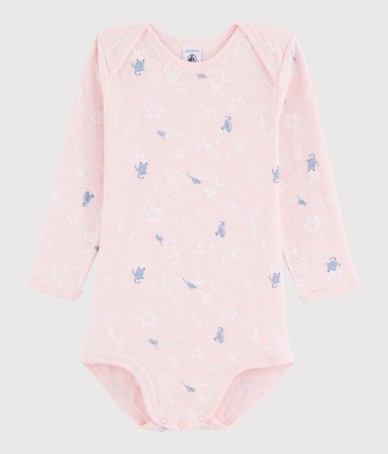 Langärmeliger Baby-Body Mädchen rosa Minois / weiss Multico