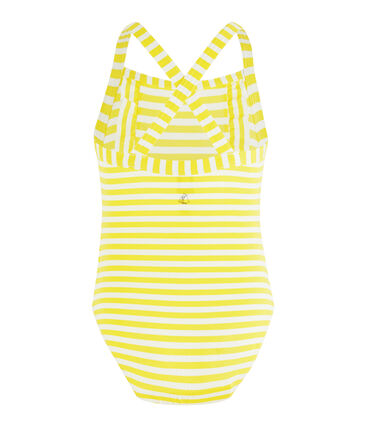 Sonnenschutz-Badeanzug für Mädchen gelb Eblouis / weiss Marshmallow
