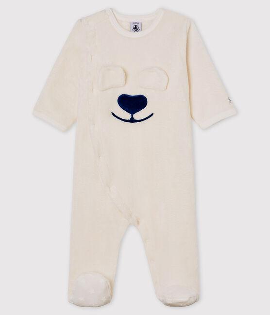 Baby-Pyjama 'Bär' zum Überziehen aus Fleece weiss Marshmallow