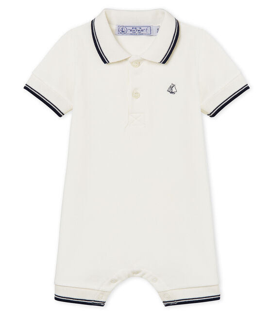 Baby-polo-kurzoverall jungen weiss Marshmallow