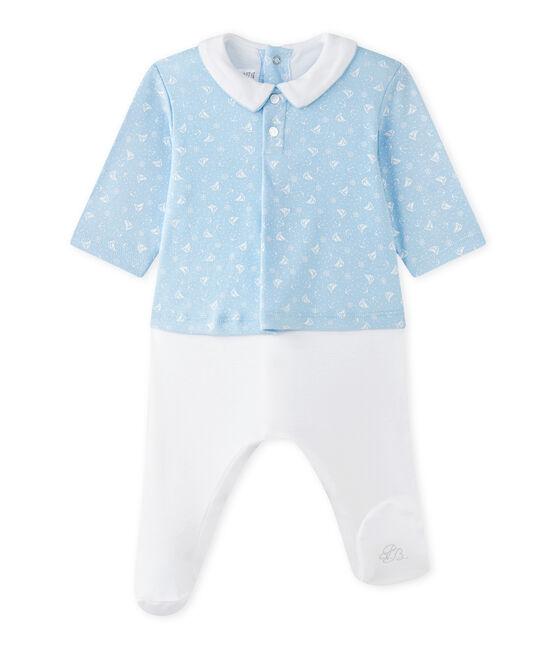 Baby-Jungen-Wickelhemd-Einteiler im Materialmix blau Toudou / weiss Ecume
