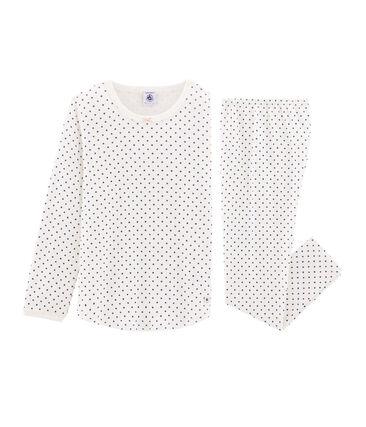 Rippstrick-Pyjama für Mädchen weiss Marshmallow / blau Major