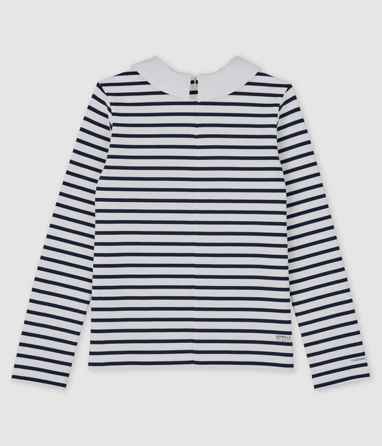 Damen Streifenshirt Petit Bateau Deyrolle weiss Marshmallow / blau Smoking