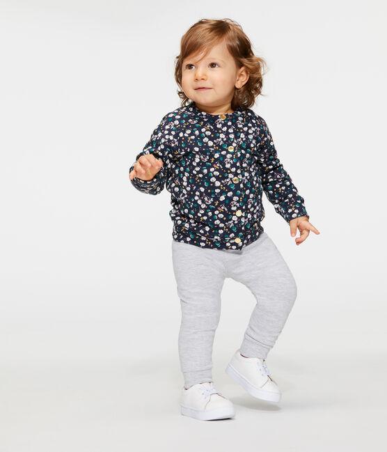 Baby-Cardigan aus bedrucktem Doppeljersey für Mädchen blau Smoking / weiss Multico