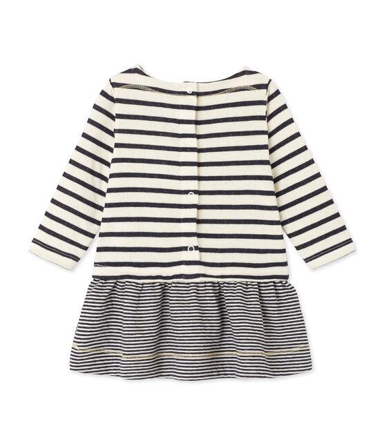 Gestreiftes Baby-Mädchen-Kleid beige Coquille / blau Smoking