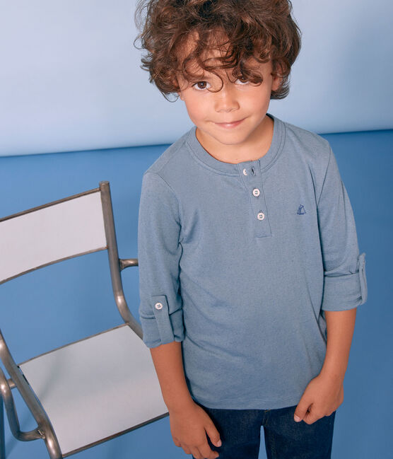Langärmeliges Kinder-T-Shirt Jungen blau Fontaine