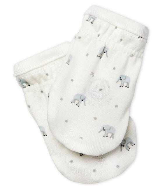 Babyfäustlinge aus Rippstrick weiss Marshmallow / weiss Multico