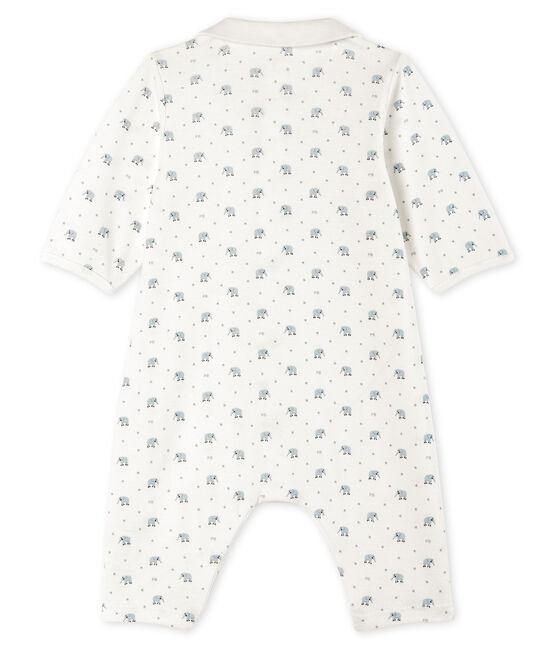 Baby-Strampler ohne Fuß aus Rippstrick weiss Marshmallow / weiss Multico