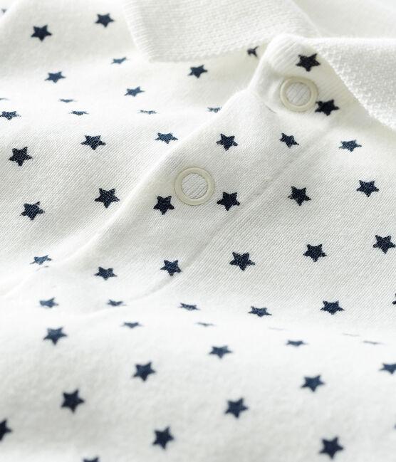 Baby-Body, gemustert, mit Polohemdkragen für Jungen weiss Marshmallow / blau Smoking