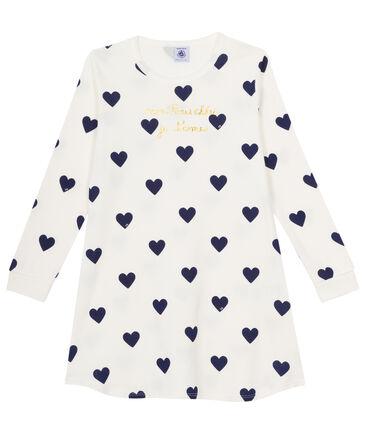 Rippstrick-Nachthemd für kleine Mädchen weiss Marshmallow / blau Medieval