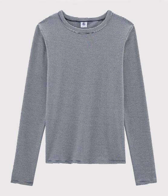 Damen-T-Shirt aus Wolle und Baumwolle blau Smoking / weiss Marshmallow