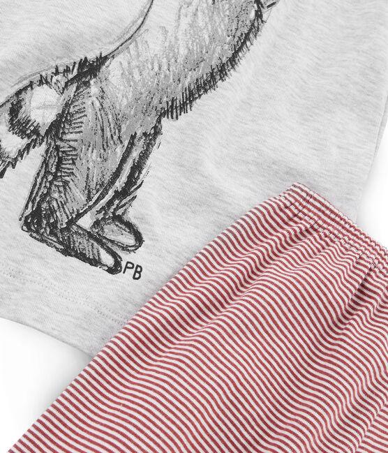 Rippstrick-Kurzpyjama für kleine Jungen grau Beluga / weiss Multico