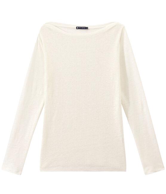 Damen-Langarmshirt aus irisierendem Leinen weiss Lait / gelb Or