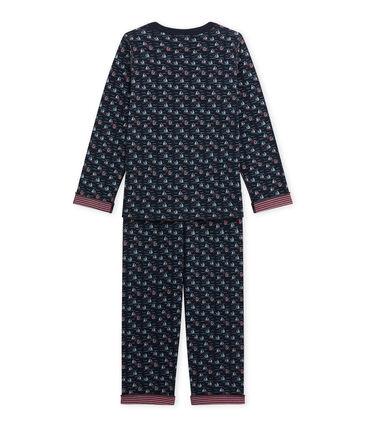 Jungen-Schlafanzug zum Wenden blau Smoking / weiss Multico