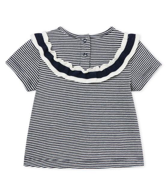 Kurzarm-baby-bluse mit ringelstreifenmuster mädchen blau Smoking / weiss Marshmallow Cn