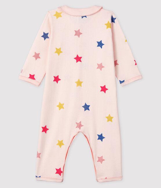 Baby-Strampler mit Sternenmuster ohne Fuß aus Rippstrick für Mädchen rosa Fleur / weiss Multico