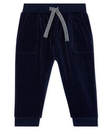 Babyhose aus geripptem Samtstrick für Jungen blau Smoking