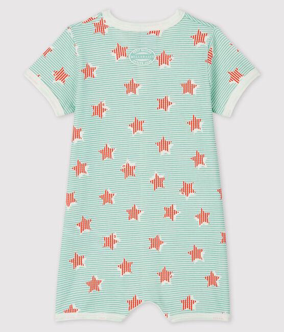 Blauer Baby-Kurzoverall mit Streifen und Sternen aus Rippstrick weiss Marshmallow / weiss Multico