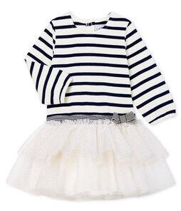 Langärmeliges gestreiftes Babykleid für Mädchen