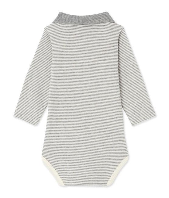 Baby-Jungen-Body mit Milleraies-Ringelmuster grau Subway / beige Coquille