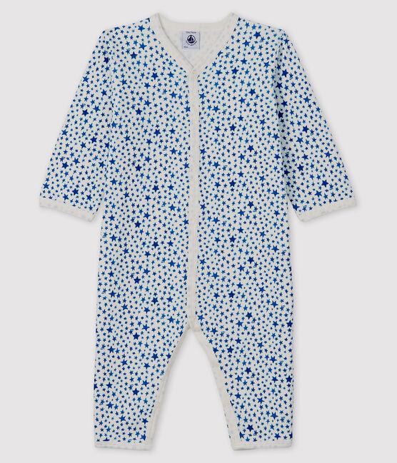 Baby-Strampler mit blauen Sternen ohne Fuß aus Doppeljersey weiss Marshmallow / blau Major