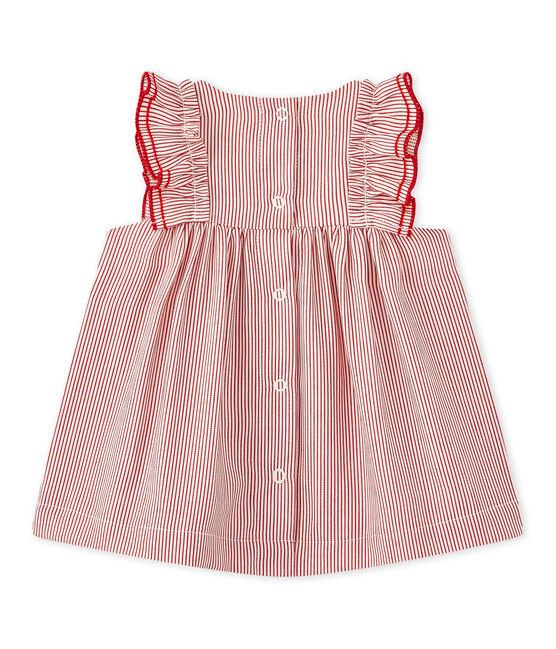 Gestreiftes Baby-Mädchen-Kleid aus Popeline weiss Lait / rot Terkuit