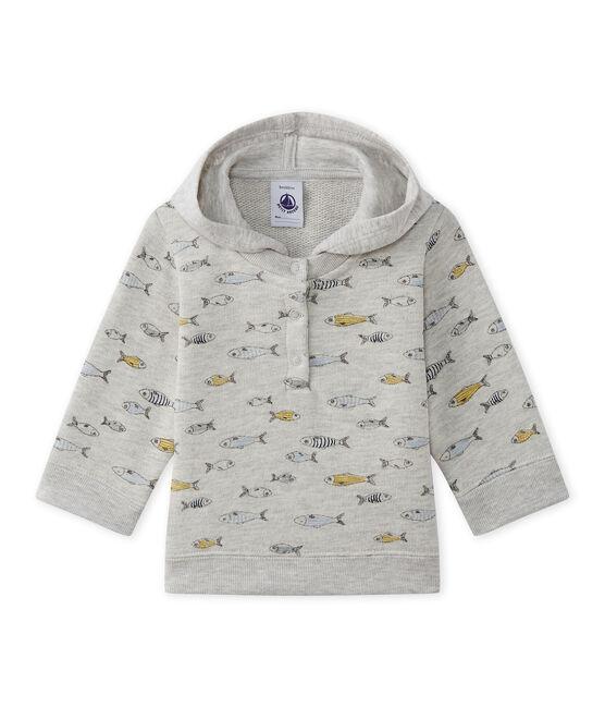 Baby-Jungen-Kapuzensweatshirt grau Beluga / weiss Multico