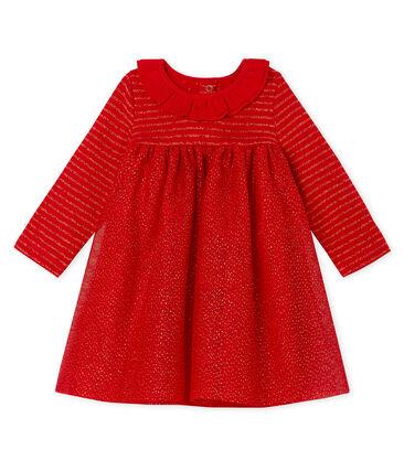 Langärmeliges Babykleid aus Materialmix für Mädchen rot Terkuit / gelb Or