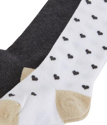 2er-Set Baby-Strumpfhosen für Mädchen weiss Marshmallow / weiss Multico