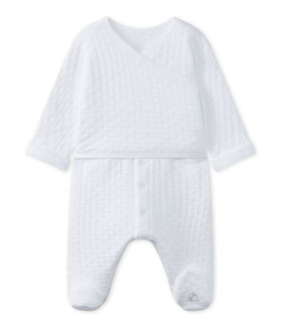 Unisex-Baby-Strampler aus bedrucktem, gedoppeltem Jersey weiss Ecume