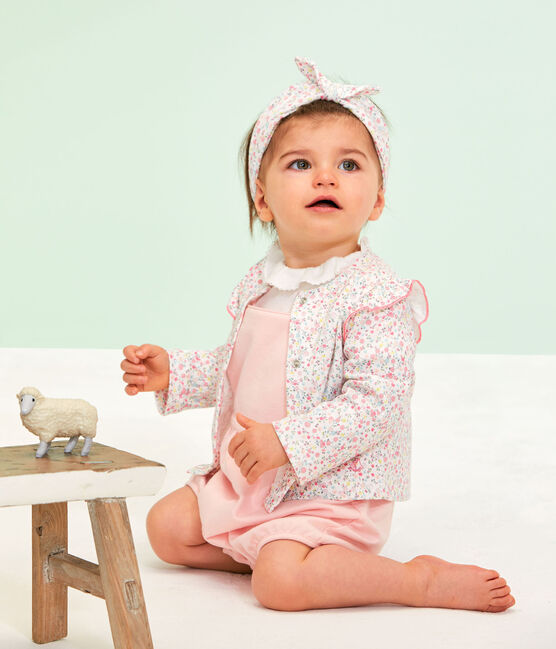 Leichter, gemusterter Baby-Mädchen-Cardigan weiss Marshmallow / weiss Multico