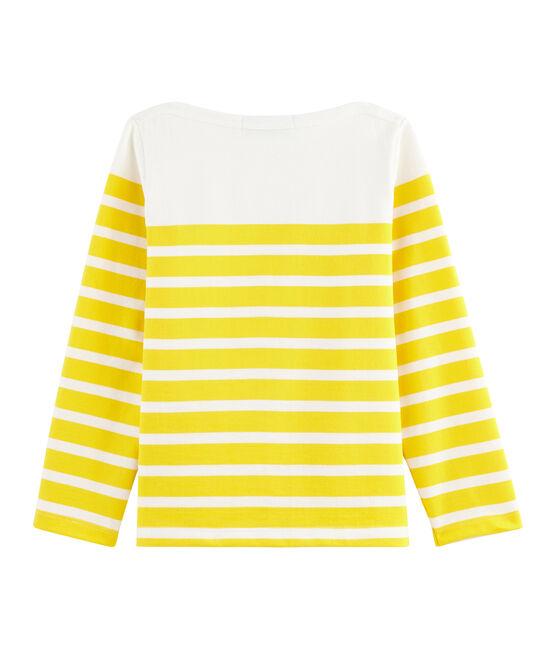 Kinder-Matrosenshirt aus Jersey weiss Marshmallow / gelb Shine