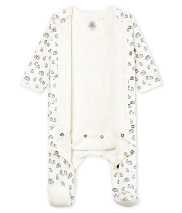 Baby-Bodyjama aus Samt für Jungen weiss Marshmallow / weiss Multico